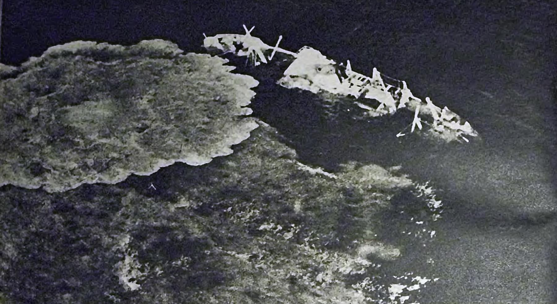 Royal Navy merchantman sinking off Tobruk after a Luftwaffe attack 1941 01