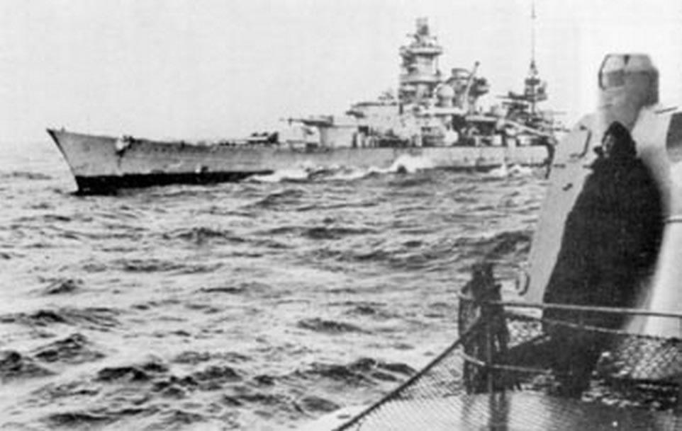 Kriegsmarine Scharnhorst class battlecruisers battleship KMS Scharnhorst during operation Berlin 02