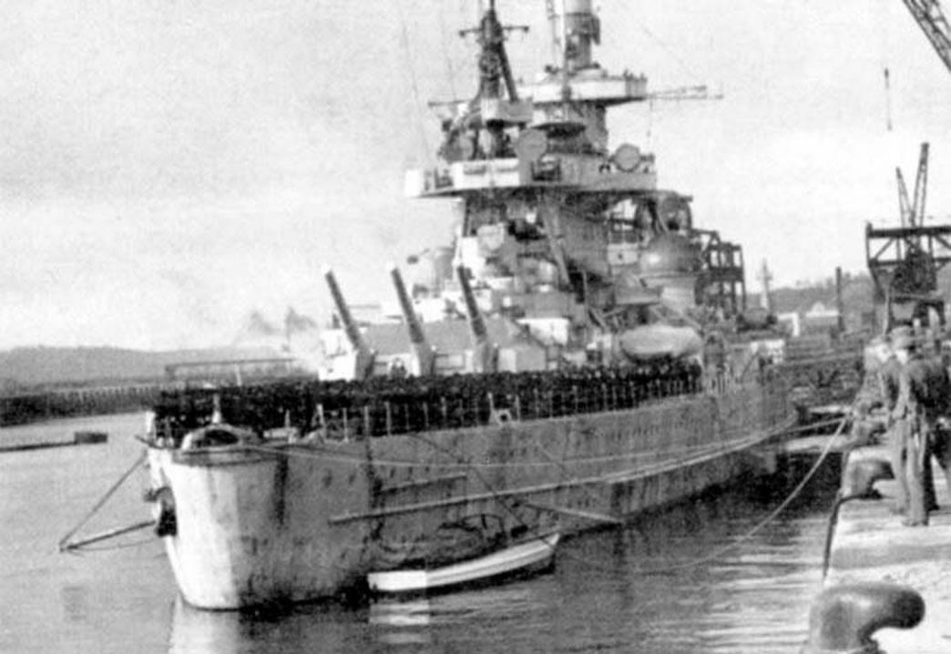 Kriegsmarine battlecruisers KMS Scharnhorst and KMS Gneisenau in drydock Brest France 1941 04