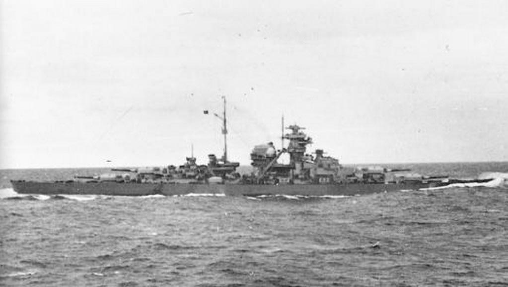 Kriegsmarine battleship KMS Bismarck taken from Prinz Eugen 01