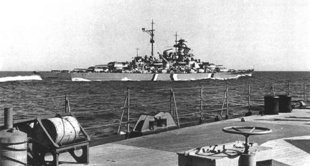 Kriegsmarine battleship KMS Bismarck taken from Prinz Eugen 03