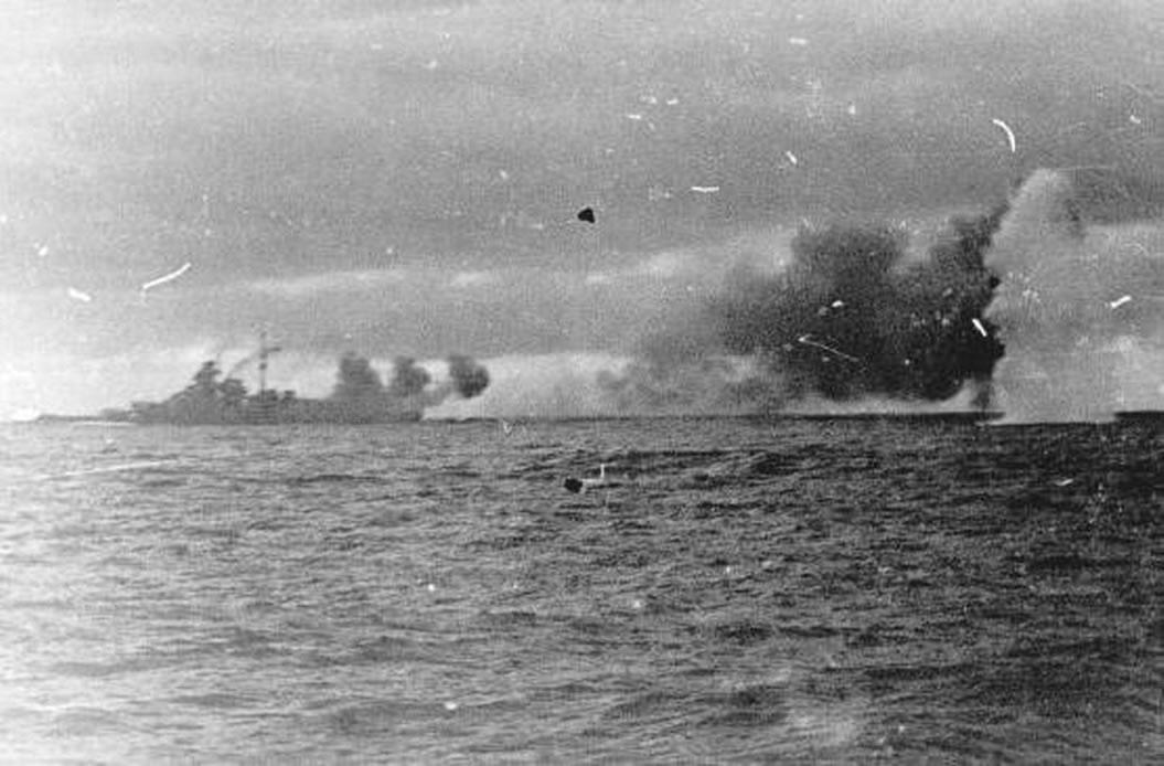 Kriegsmarine battleship KMS Bismarck taken from Prinz Eugen 04