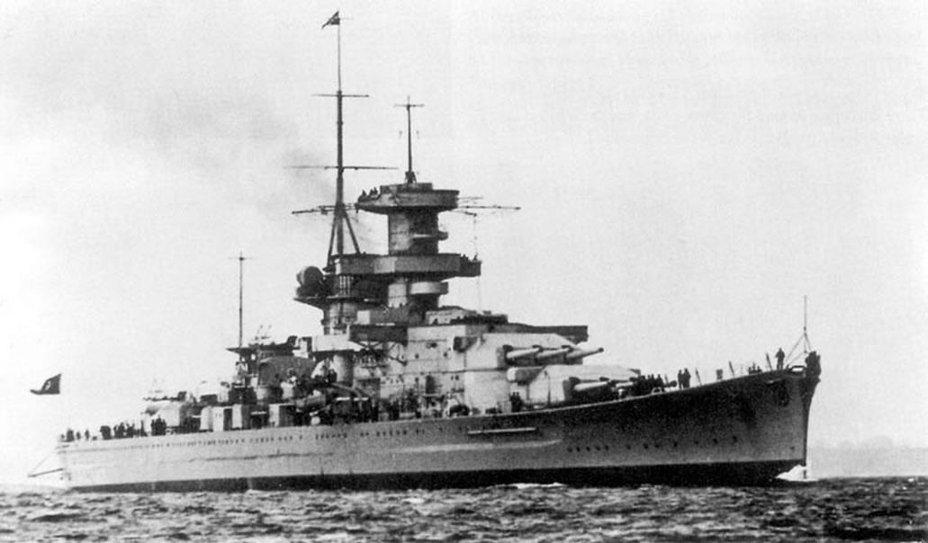 Kriegsmarine battleship KMS Gneisenau Sea trials 03