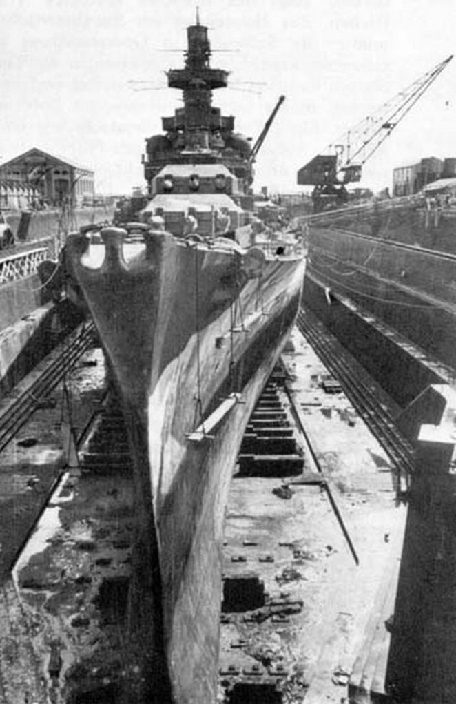Kriegsmarine battleship KMS Gneisenau in drydock Brest France 1941 03