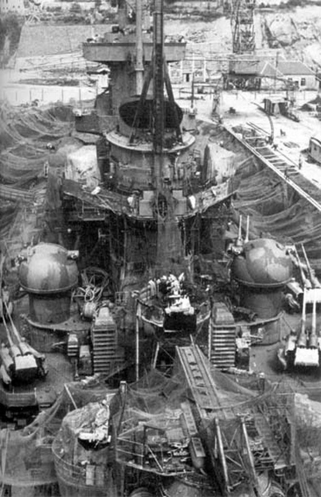 Kriegsmarine battleship KMS Gneisenau in drydock Brest France 1941 04