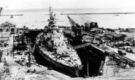 Kriegsmarine battleship KMS Gneisenau in drydock Brest France 1941 02