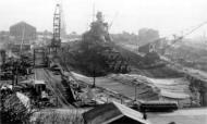 Kriegsmarine battleship KMS Gneisenau in drydock Brest France 1941 05