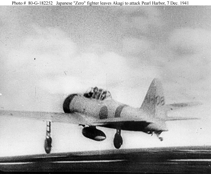Archive Japanese Naval photos taken aboard the Akagi as aircraft leave to attack Perl Harbor 7th Dec 1941 01