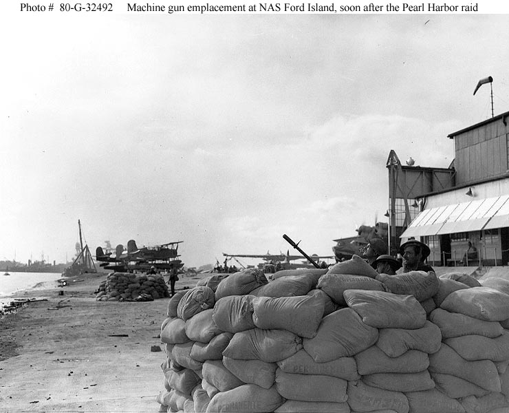 Archive US Navy photos showing machine gun emplacement on Ford Island seaplane base Hawaii Dec 1941 01