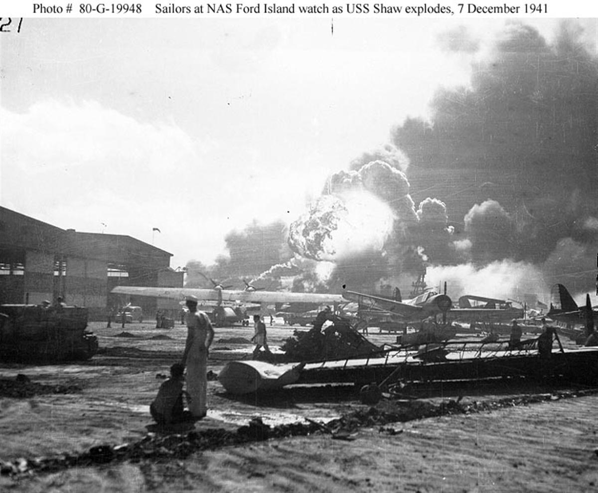 Archive US Navy photos showing the Japanese Naval attack on Ford Island seaplane base Hawaii 01