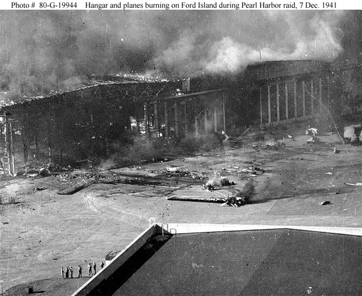 Archive US Navy photos showing the Japanese Naval attack on Ford Island seaplane base Hawaii 02
