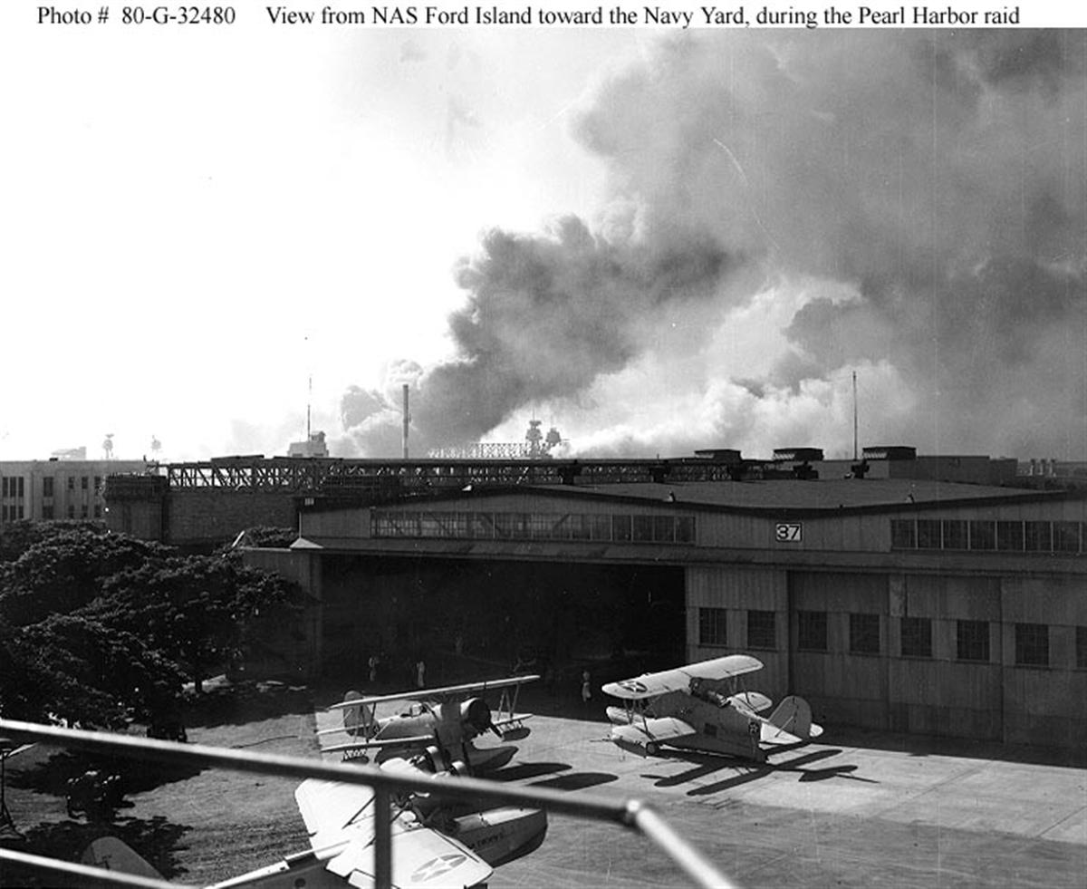 Archive US Navy photos showing the Japanese Naval attack on Ford Island seaplane base Hawaii 03