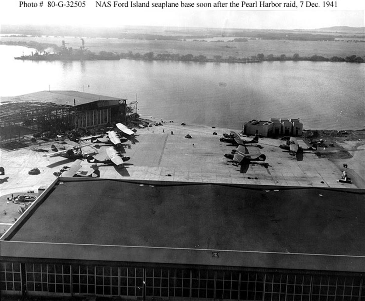 Archive US Navy photos showing the Japanese Naval attack on Ford Island seaplane base Hawaii 04