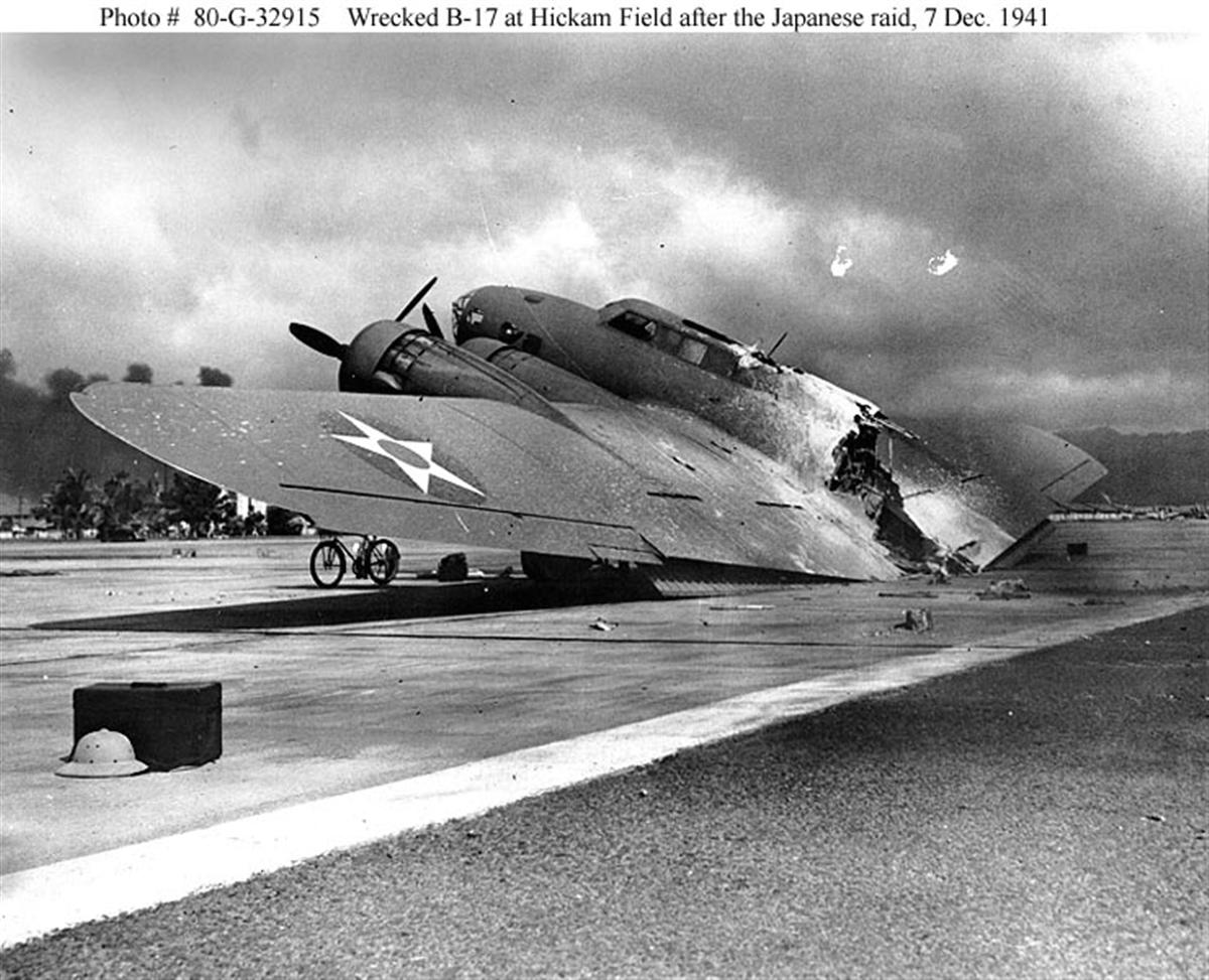 Archive US Navy photos showing the attack on Pearl Harbor B 17 Fortress Hickam Field Hawaii 7th Dec 1941 02