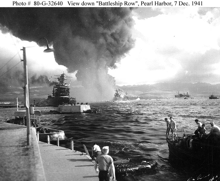 Archive USN photos showing Battleship Row after the attck on Perl Harbor Hawaii 7th Dec 1941 01