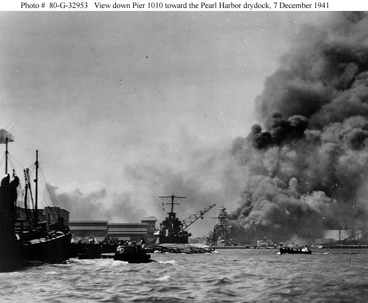 Archive USN photos showing Battleship Row after the attck on Perl Harbor Hawaii 7th Dec 1941 04