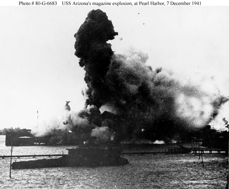 Archive USN photos showing USS Arizona's magazine exploding Perl Harbor Hawaii 7th Dec 1941 01