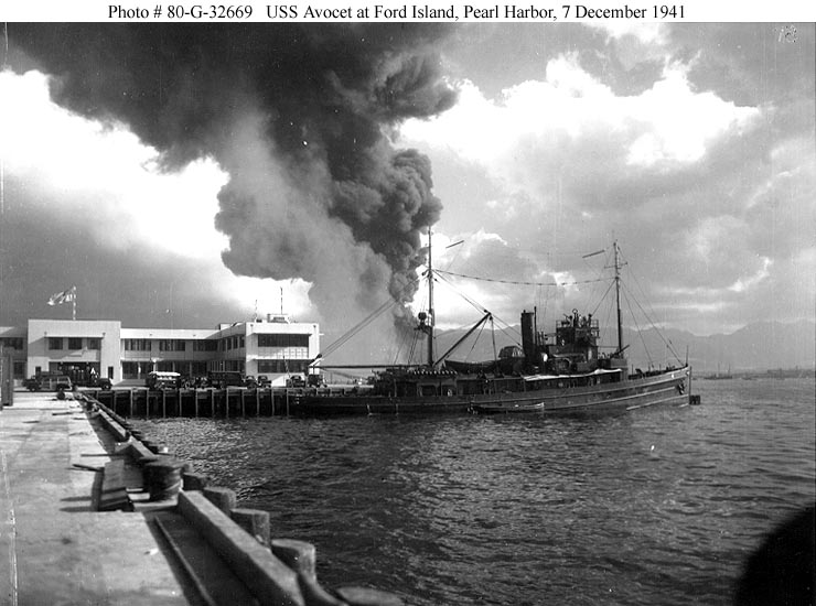 Archive USN photos showing USS Avocet at Ford Island after the attck on Perl Harbor Hawaii 7th Dec 1941 01