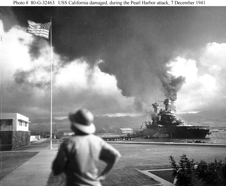 Archive USN photos showing USS California duringr the attck on Perl Harbor Hawaii 7th Dec 1941 01