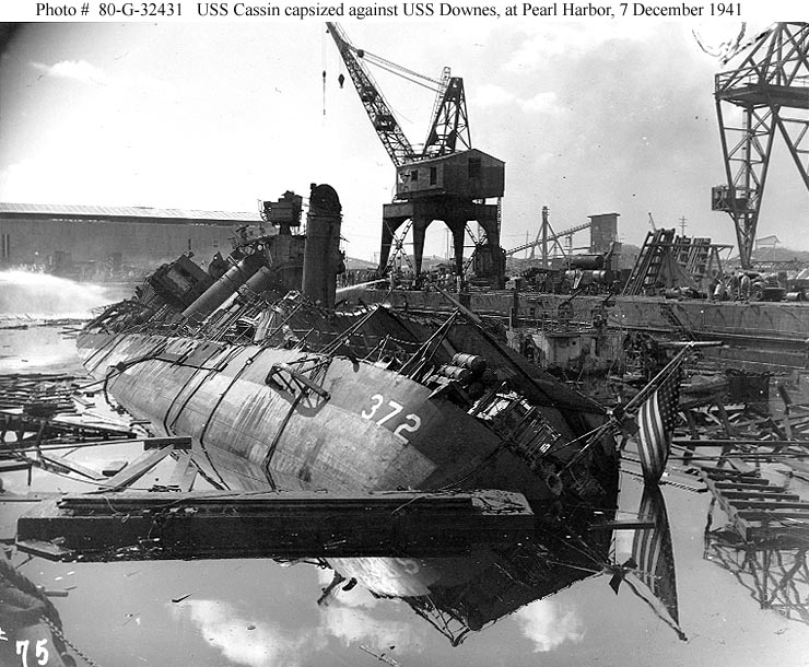 Archive USN photos showing USS Cassin and USS Downes after the attck on Perl Harbor Hawaii 7th Dec 1941 01