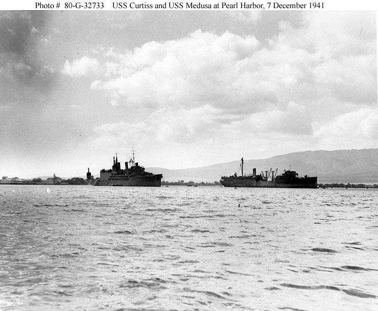 Archive USN photos showing USS Curtiss and USS Medusa after the attck on Perl Harbor Hawaii 7th Dec 1941 01