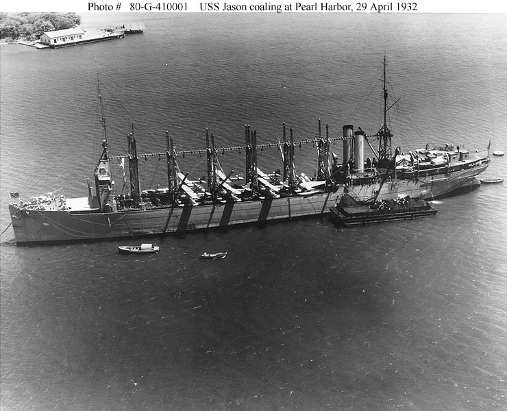 Archive USN photos showing USS Jason moored at Perl Harbor Hawaii 29th April 1932 01