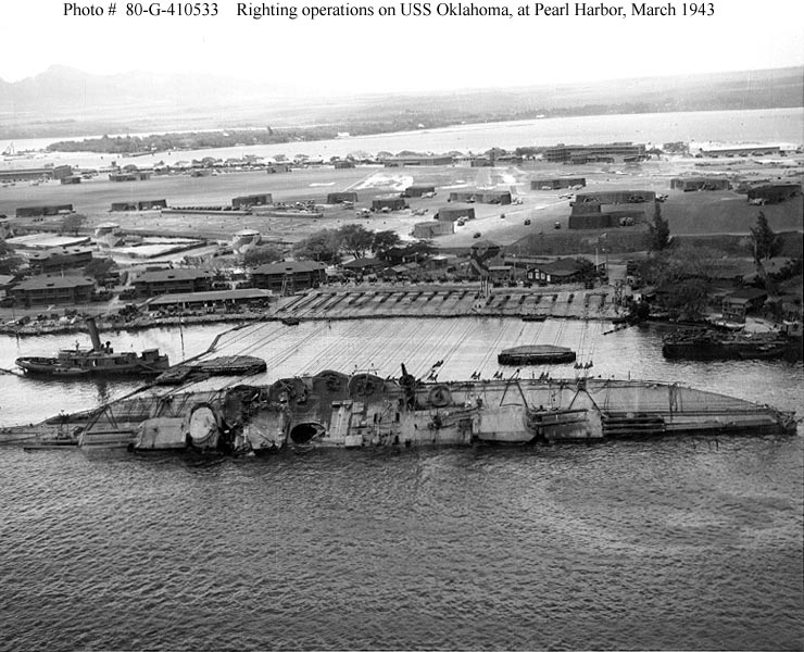 Archive USN photos showing USS Oklahoma being salvaged Perl Harbor Hawaii March 1943 01