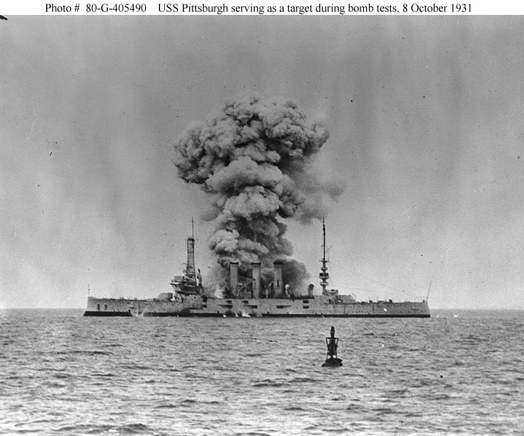 Archive USN photos showing USS Pittsburgh during aerial bomb tests 8th Oct 1931 01