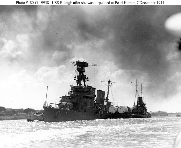 Archive USN photos showing USS Raleigh after the attck on Perl Harbor Hawaii 7th Dec 1941 01