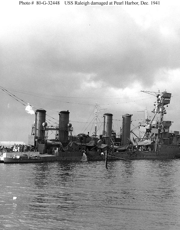 Archive USN photos showing USS Raleigh after the attck on Perl Harbor Hawaii 7th Dec 1941 02