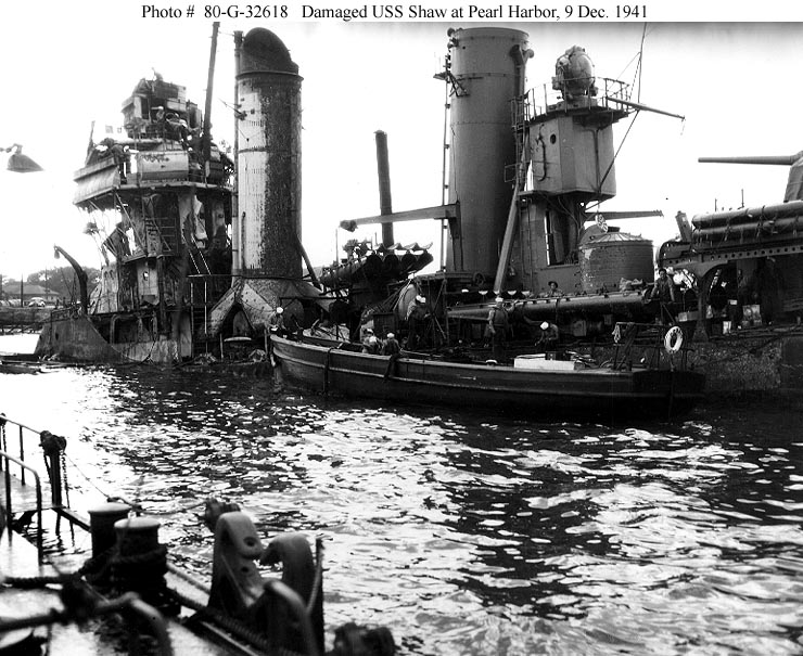 Archive USN photos showing USS Shaw after the attck on Perl Harbor Hawaii 9th Dec 1941 01