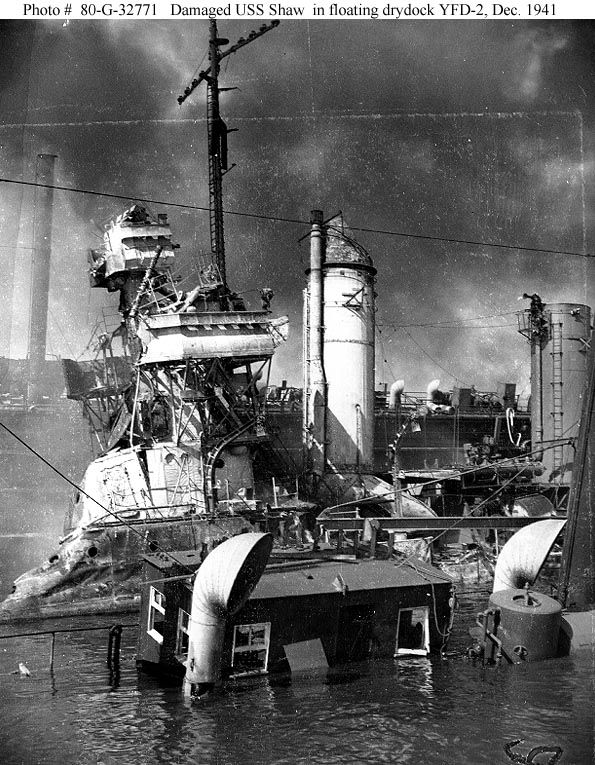 Archive USN photos showing USS Shaw after the attck on Perl Harbor Hawaii 9th Dec 1941 02