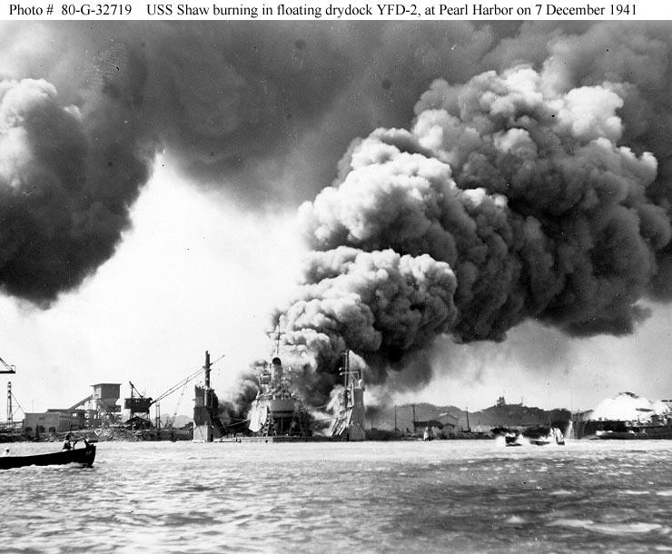 Archive USN photos showing USS Shaw burning in drydock YFD 2 Perl Harbor Hawaii 7th Dec 1941 01