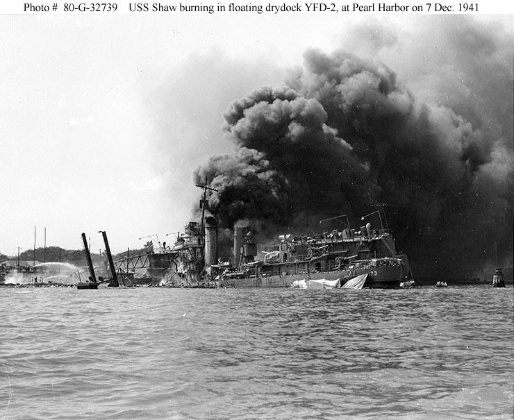 Archive USN photos showing USS Shaw burning in drydock YFD 2 Perl Harbor Hawaii 7th Dec 1941 02