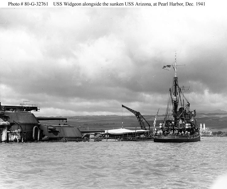 Archive USN photos showing USS Widgeon alongside the sunken USS Arizona Perl Harbor Hawaii Dec 1941 01