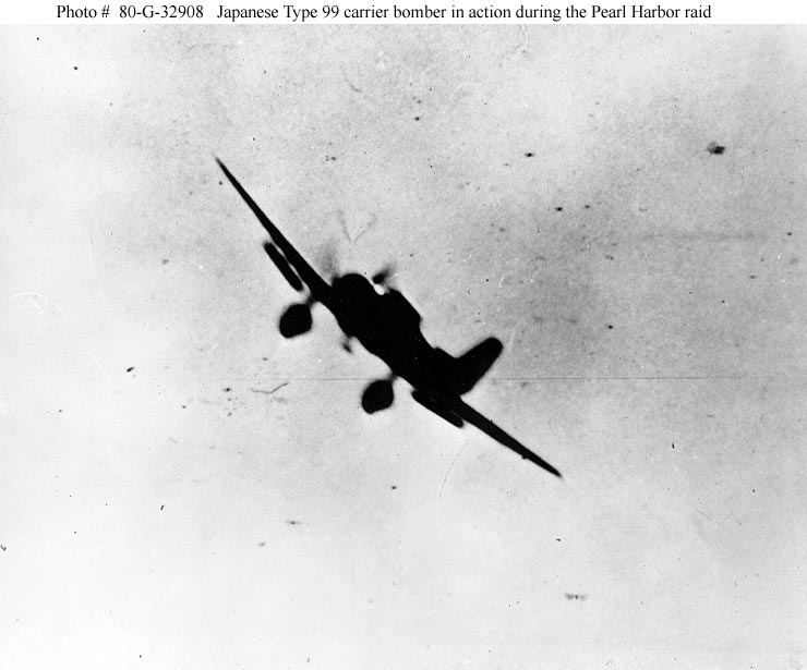 Archive USN photos showing a Japanese bomber during the attck on Perl Harbor Hawaii 7th Dec 1941 02