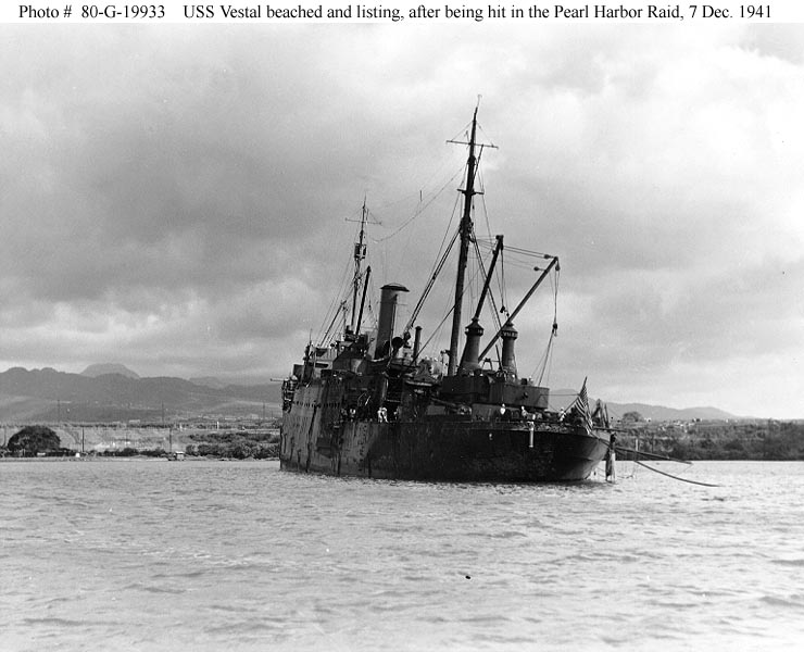 Archive USN photos showing a damaged USS Vestal Perl Harbor Hawaii 7th Dec 1941 01