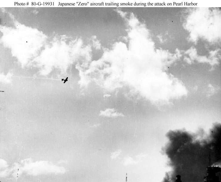 Archive USN photos showing damaged Zero in flight Perl Harbor Hawaii 7th Dec 1941 01