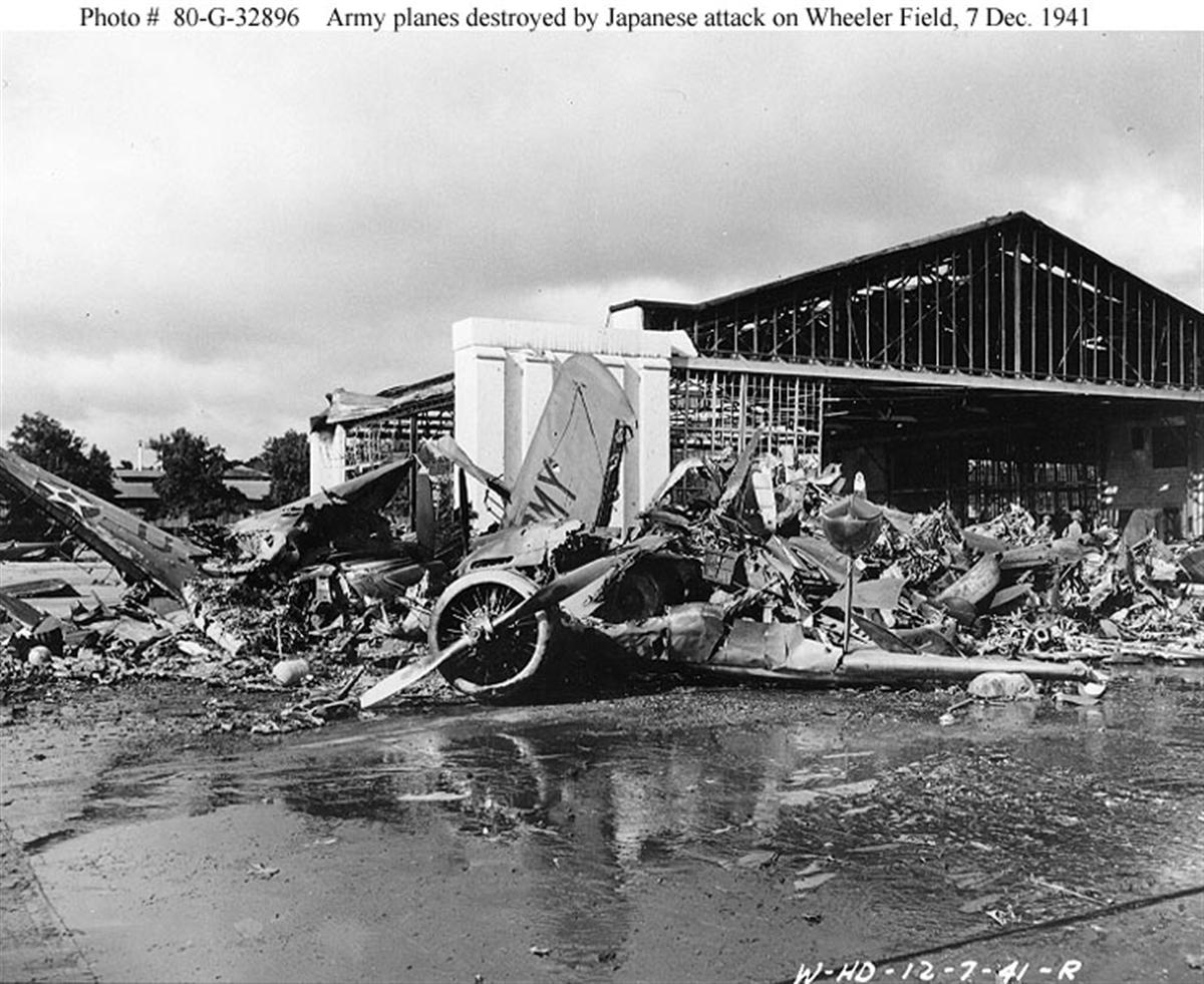 Archive USN photos showing the aftermath caused by IJN attack on Wheeler Air Field Hawaii 1941 01