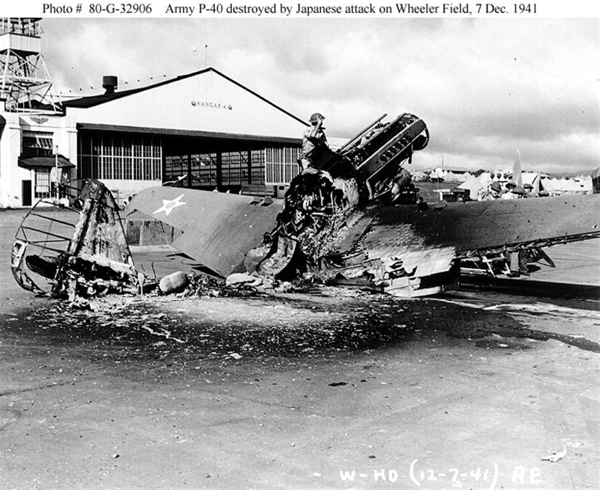 Archive USN photos showing the aftermath caused by IJN attack on Wheeler Air Field Hawaii 1941 02