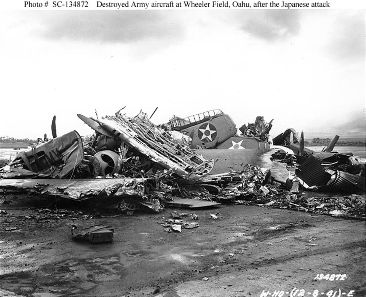 Archive USN photos showing the aftermath caused by IJN attack on Wheeler Air Field Hawaii 1941 03