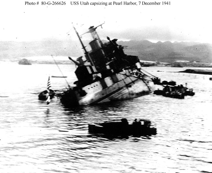 Archive USN photos showing the damaged USS Utah after the attck on Perl Harbor Hawaii 7th Dec 1941 01