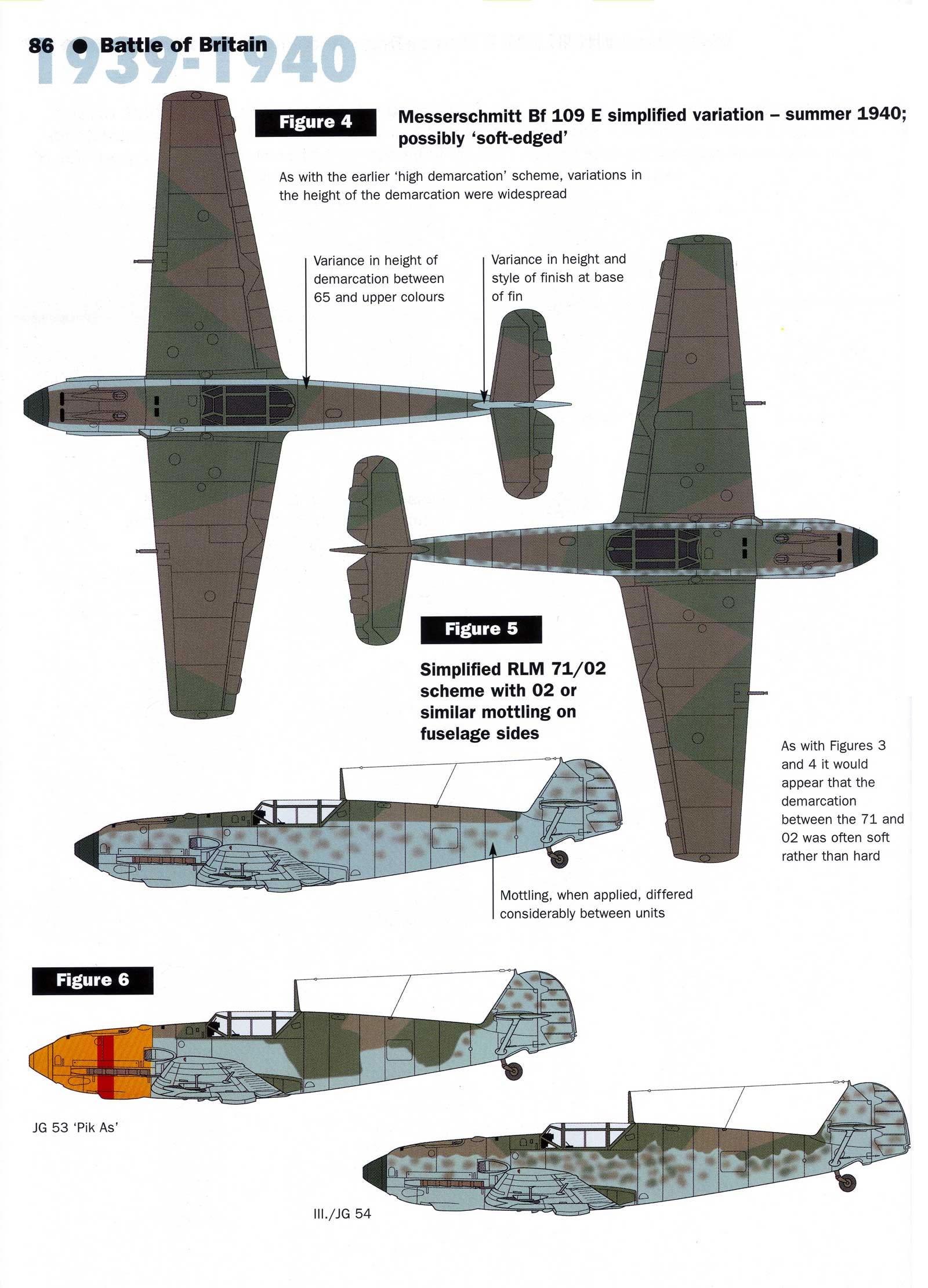 Art Messerschmitt Bf 109E RLM 70 02 simplified 1940 scheme 01