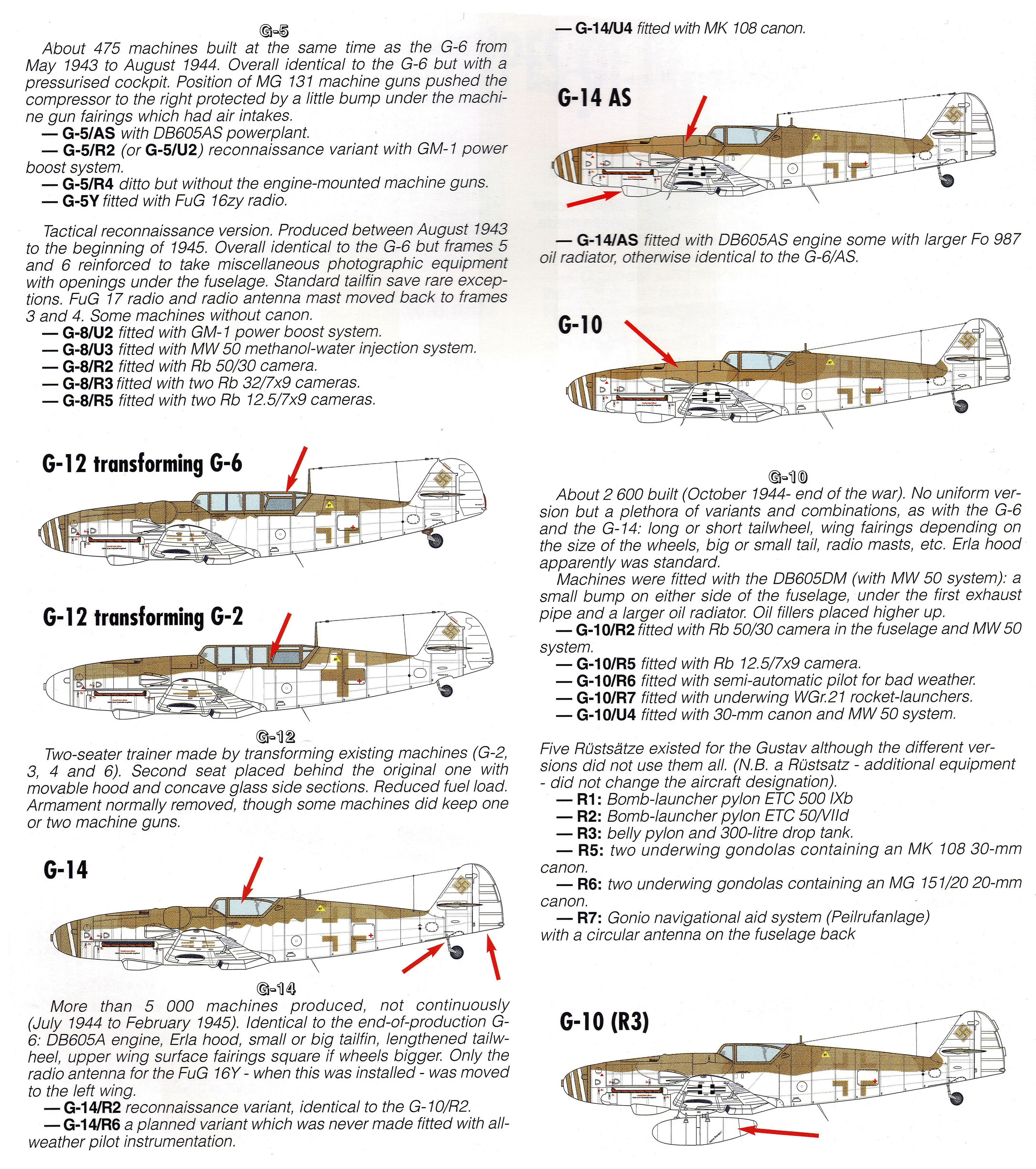 Art Messerschmitt Bf 109G mark variants 03