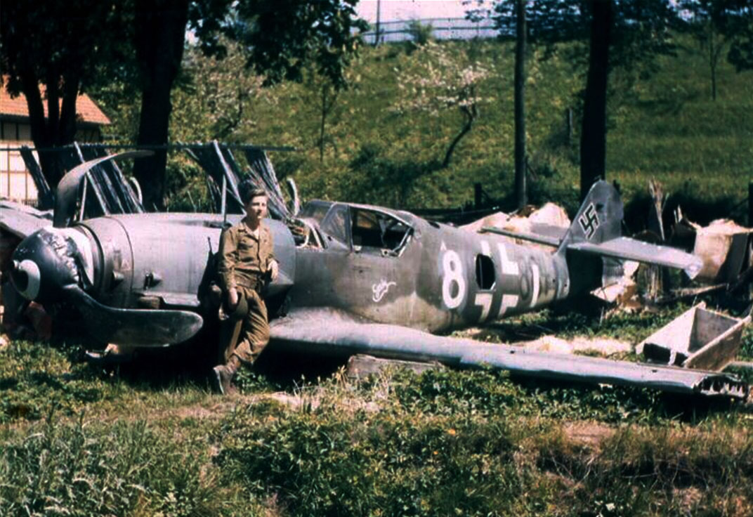 Bf 109K 4R3 9.JG3 White 8 Gabi abandoned Germany April 1945