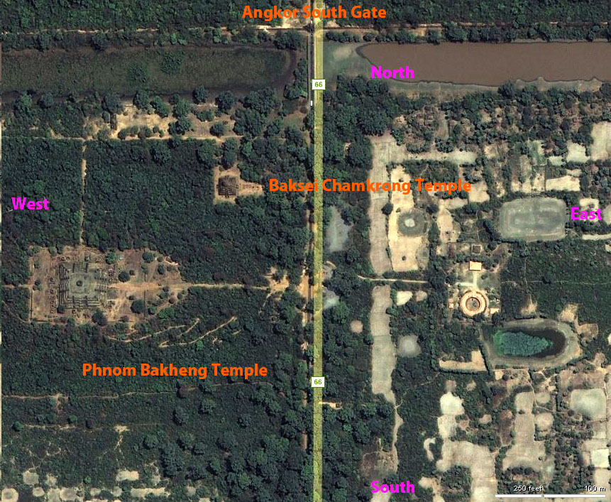 Aerial View of Angkor South Gate labeled