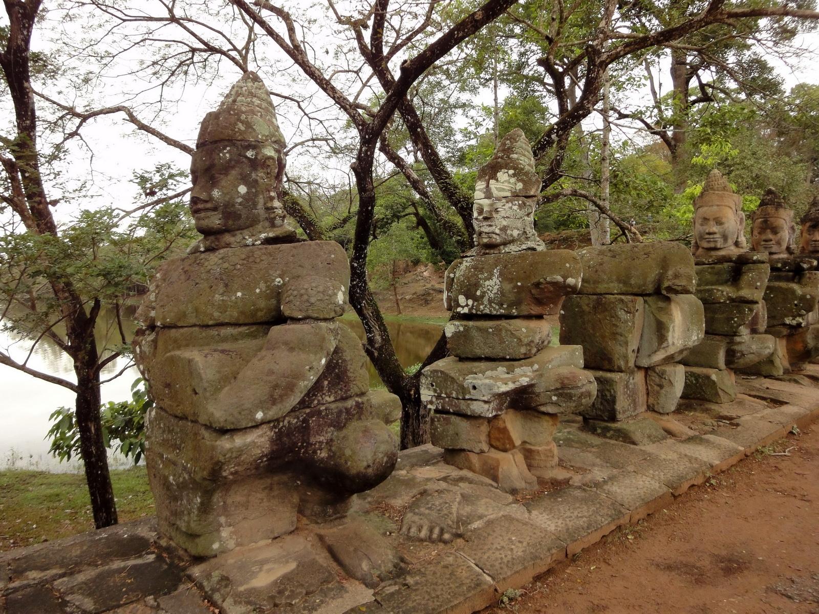 Devas Statues on the bridge leading to South Gate Jan 2010 09