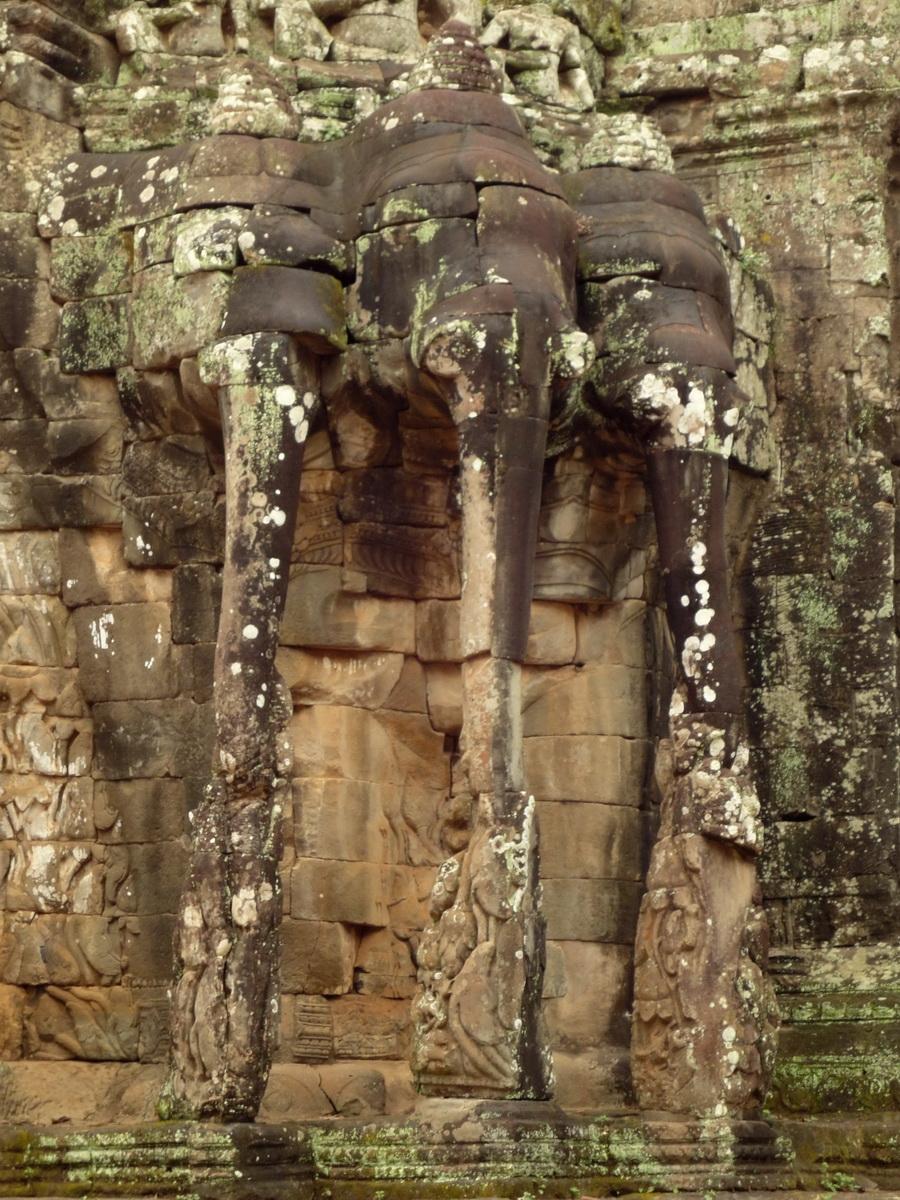 Victory Gate elephants supporting Avalokiteshvara Siem Reap 01