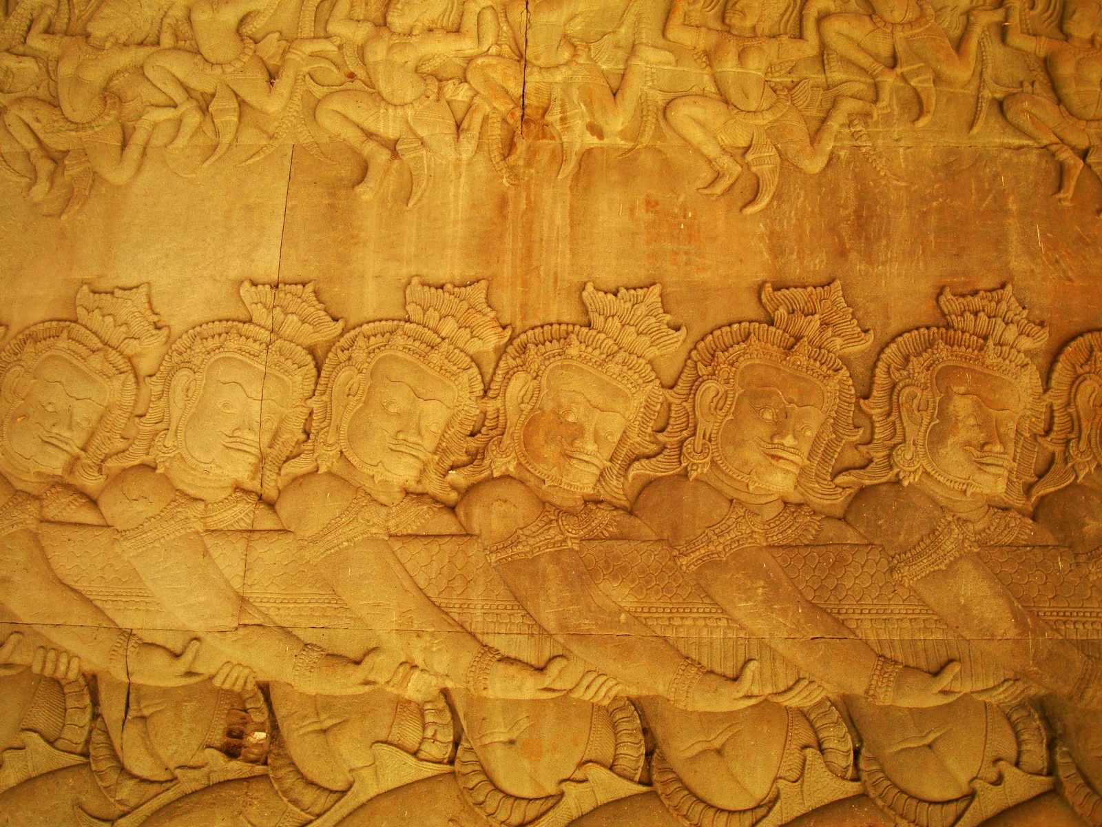 Angkor Wat Bas relief E Gallery S Wing Churning of the sea of milk 02