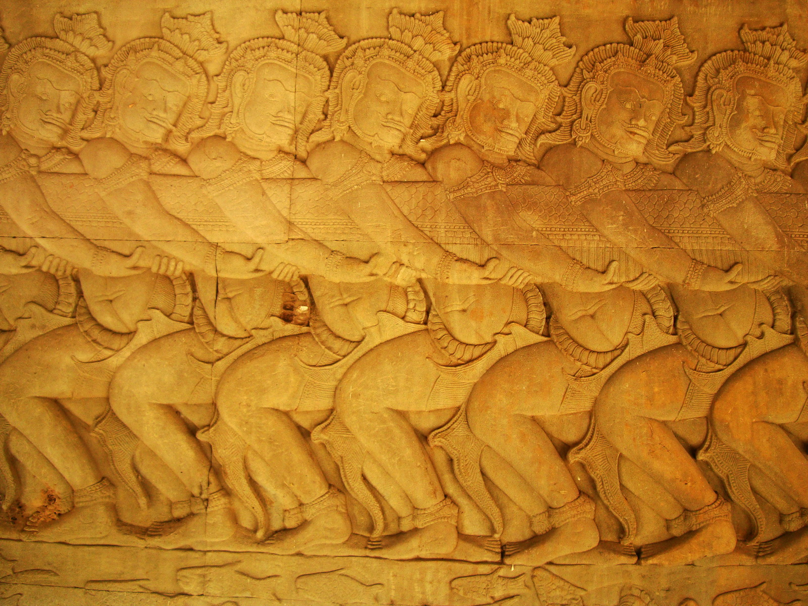 Angkor Wat Bas relief E Gallery S Wing Churning of the sea of milk 03